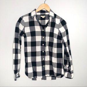 J. Crew Black White Flannel Shirt | Sz 0
